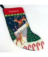 Lands End Needlepoint Monogramed Elisabeth Christmas Stocking Reindeer C... - $44.54