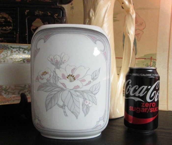 Fine Kaiser German Porcelain DESIGNER Vase Chantal by K. Nossek Pink & Gray VTG!