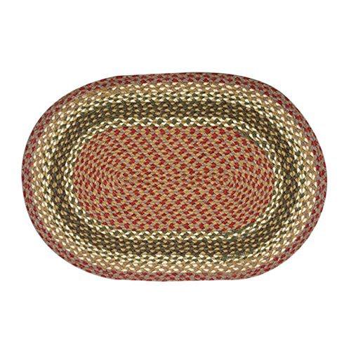 Olive / Burgundy Braided Oval Rug Size: Oval 3' X 5
