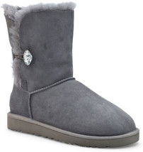 UGG Womens Bailey Button Bling Boots Grey 1016553 - $220.00