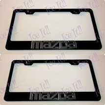 2X 3D Mazda Carbon Fiber Black Stainless Steel License Plate Frame W/ Caps - $42.56