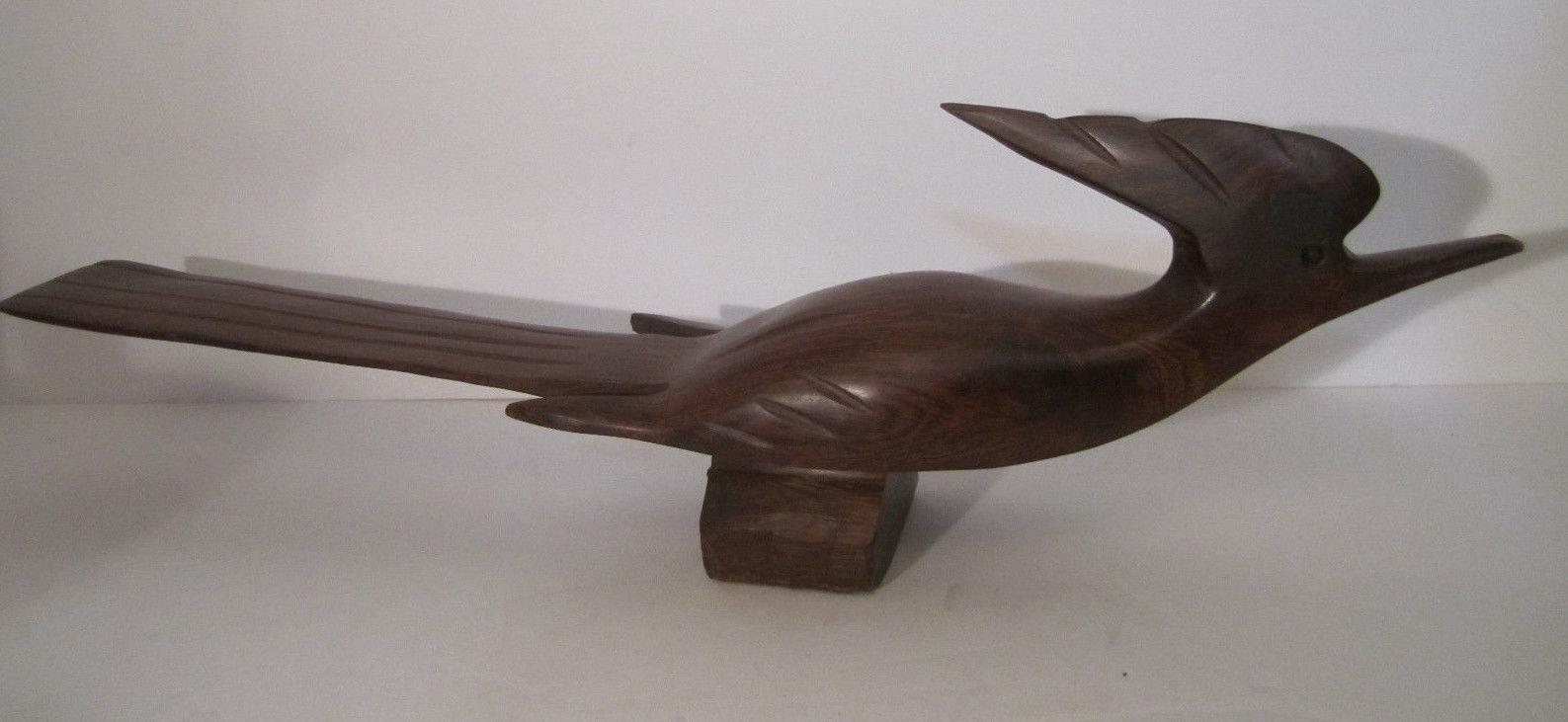 LARGE Vintage Carved Wooden Roadrunner Bird Carving