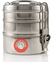 Stainless Steel Lunch Box Food Container 3 Tier Indian Tiffin Round Carr... - $24.91 CAD