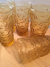 "Set of 6 Anchor Hocking Lido Milano ""crinkle"" honey gold 70s glass tumblers"