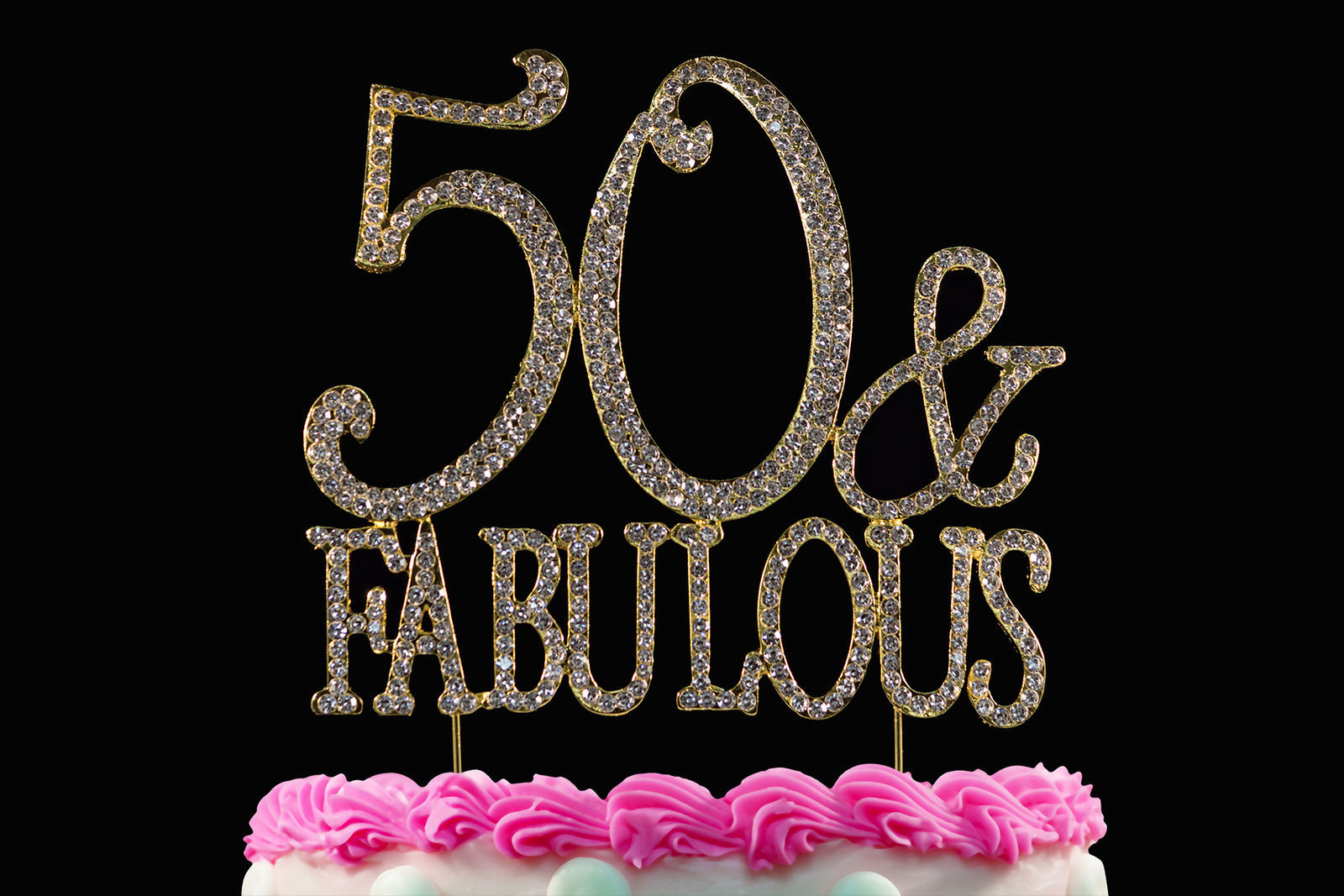 50 and Fabulous 50th Birthday Cake Toppers Bling Cake Topper Gold Cake Tops