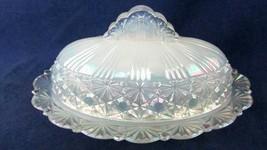 Fenton White Iridescent Opalescent Button Art Glass Butter Dish  Marked ... - $123.75
