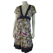 Corey Lynn Calter Dress 6 Cotton Silk Multicolor Cats Leaves Print Fitte... - $58.41