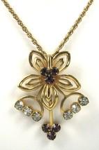 Rhinestone Necklace Purple Flower Rhinestones Gold Flower Form With Chai... - $38.00
