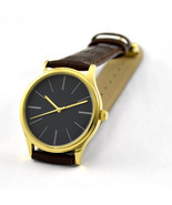 Minimalist Watches with Long Stripe Watch Gold Black Face Free Shipping  - $36.00
