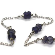 Bracelet White Gold 18K 750 with Iolite Blue, Faceted, Made in Italy image 3