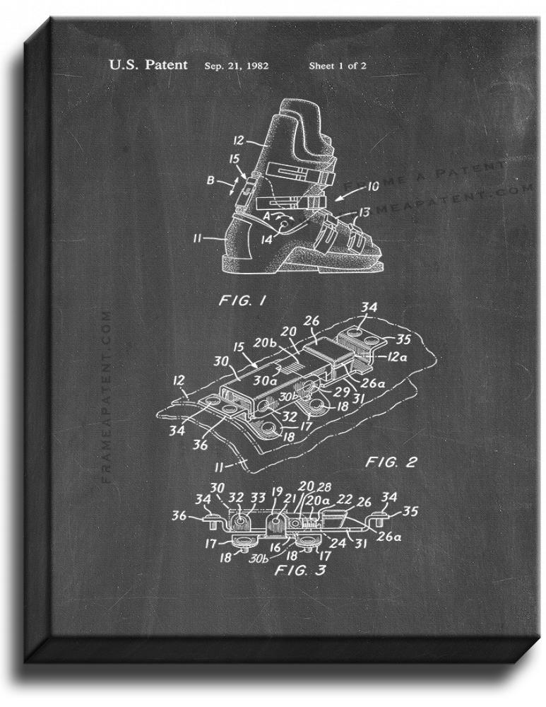 Primary image for Forward Lean Adjuster For Ski Boots Patent Print Chalkboard on Canvas