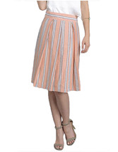 Peach Cotton Flared Full Skirt - Stripes & Plea... - $36.00