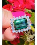 Vintage Estate 14k Gold 6ct Emerald Cut Green Tourmaline Diamond Cocktai... - $2,668.05