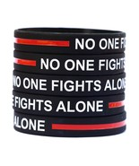100 Thin RED Line No One Fights Alone Wristband Bracelet for Fire Fighte... - $48.39