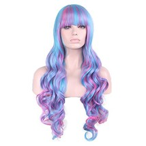 "Pengruizhi 32"" Multicolor Cosplay Wig Long Curly Blue Mix Pink Wig with ... - $23.18"