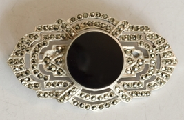 STERLING MARCASITE & ONYX PIN - $95.00
