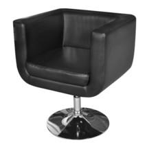 Black Artificial Leather Bucket Armchair Chrome Swivel Base Club Chair M... - $110.99