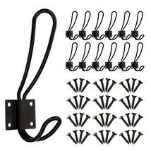 BBTO 12 Pieces Black Big Wall Mounted Rustic Hook Robe Hooks Double Coat Hangers image 10