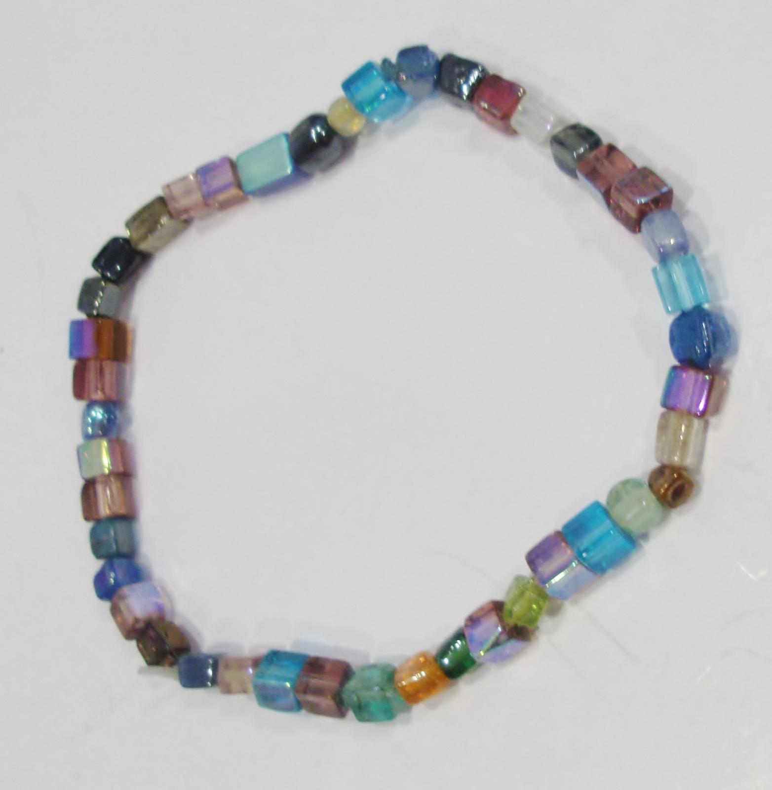handmade multi-color square glass bead stretch bracelet