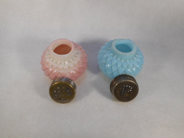 Vintage Pair of Blue and Pink Glass Petal Salt and Pepper Shakers