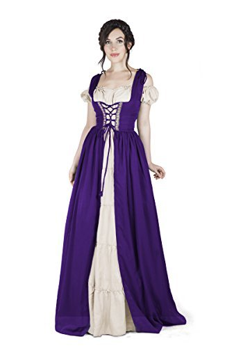 Renaissance Medieval Irish Costume Over Dress & Boho Chemise Set (2XL/3XL, Purpl