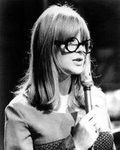 Marianne Faithfull classic 1960's with glasses singing into microphone 16x20 Can image 1