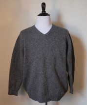 J Crew Gray 100% Shetland Wool Mens V-Neck Sweater Men's Size XL Warm - $33.28