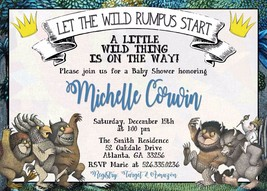 Where the Wild Things Are Baby Shower Invitation Personalized Custom - £7.21 GBP