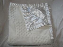 Vitamins Baby Blanket Cream Ivory Ecru Popcorn Minky Patchwork Square Satin - $49.49