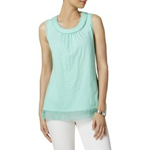 Charter Club Womens Crochet Trim Side Slit Tank Top in Opal, XL - $17.81