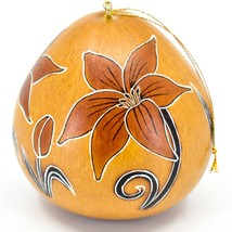 Handcrafted Carved Gourd Art Lily Lilies Flower Floral Ornament Made in Peru