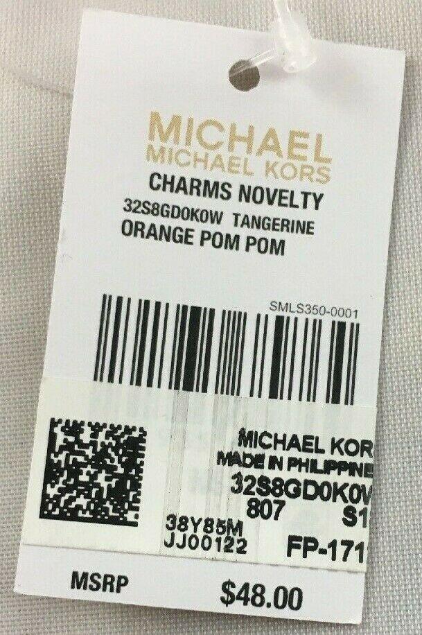 MICHAEL KORS  NWT Novelty Tangerine Pom Pom Purse-Charm  Orange Leather image 4