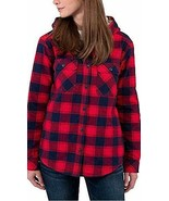 Boston Traders Women's TANGO RED Sherpa Lined Hooded Flannel Shirt Jacke... - $24.26