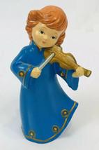 """Vintage Christmas Angel Choir Violin Music Paper Mache Brinns 8"""" Blue Ja... - $11.87"""