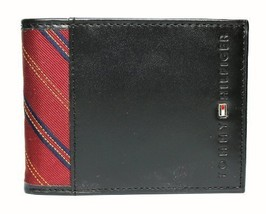 New Tommy Hilfiger Men's Leather Billfold Passcase & Valet Wallet (Black)