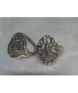 Vintage Lot of 2 Ornate Openwork Medallion Silvertone Rings Size 7.5 – t... - $11.02