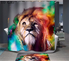 Animal Lion 54 Shower Curtain Waterproof Polyester Fabric & Bath Mat Bathroom image 1