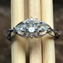 Natural 1ct Aquamarine Accent Stone 925 Solid Sterling Silver Designer R... - $89.09