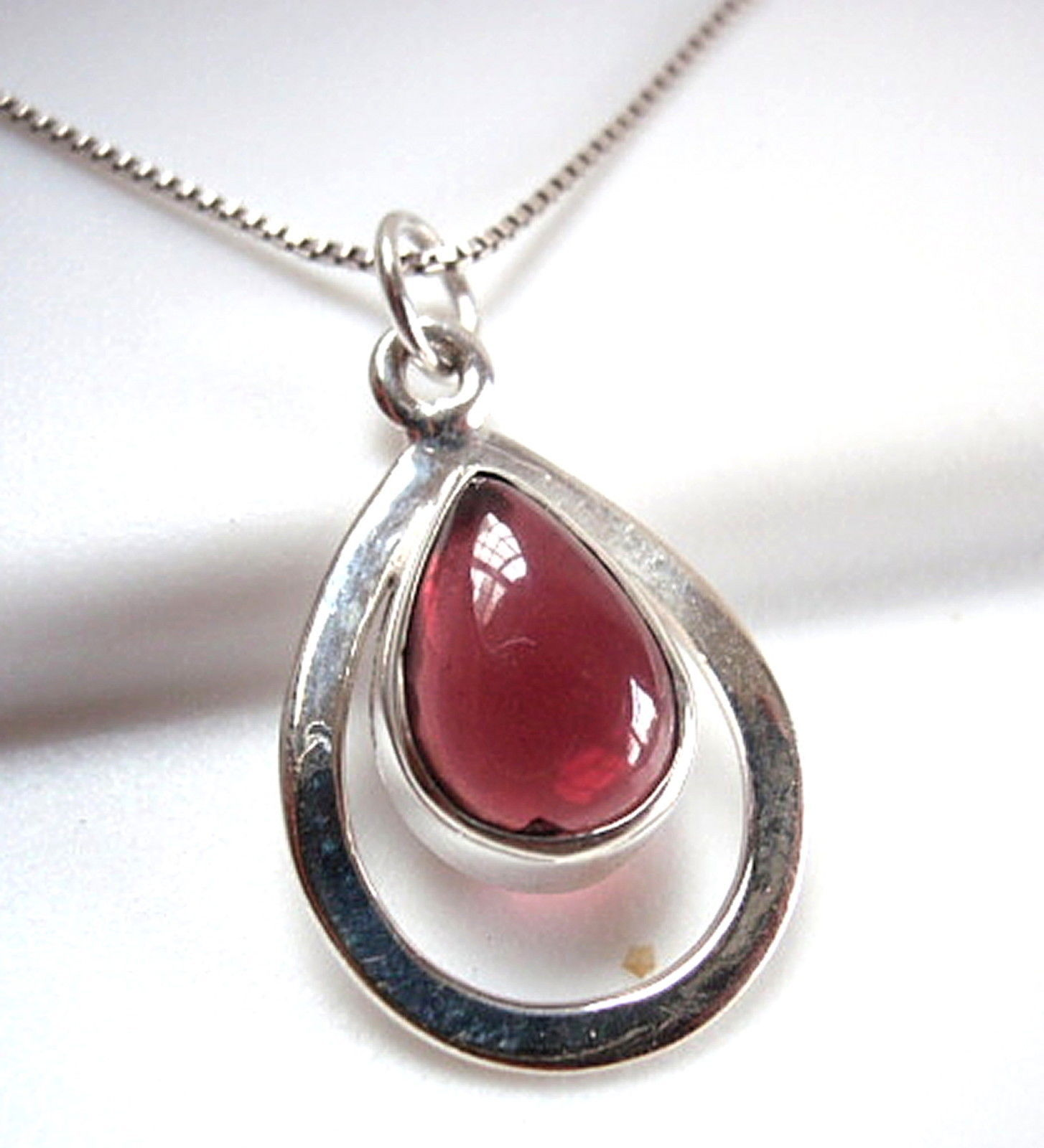 Primary image for Garnet 925 Sterling Silver Teardrop in Hoop Necklace New