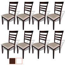 vidaXL Dining Chairs Rubberwood Kitchen Seats Brown and White/Cream 2/4/... - $81.99