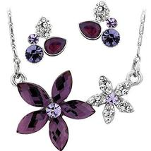 SHIP BY USPS: Neoglory Platinum Plated Purple Clear Crystal Jewelry Set,... - $39.99