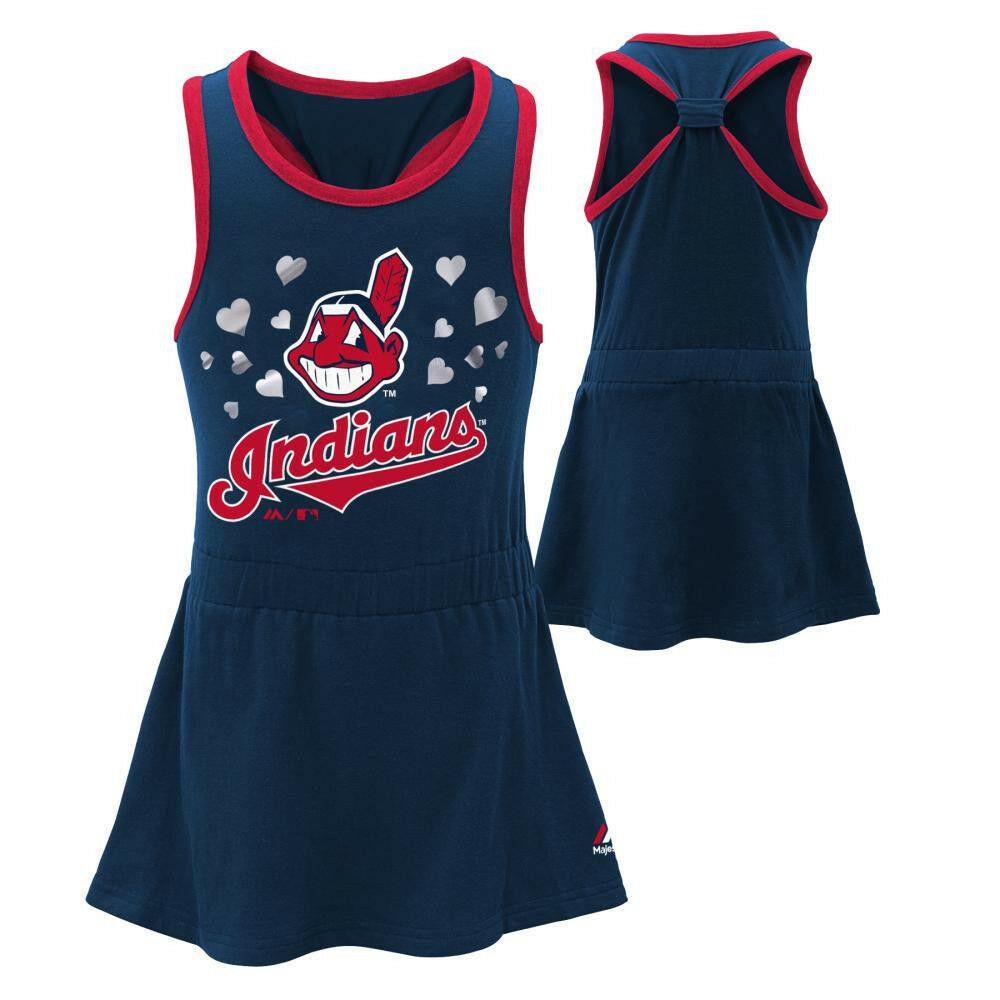Cleveland Indians Infant Girl's Dress Criss Cross Tank MLB Baseball Genuine Baby