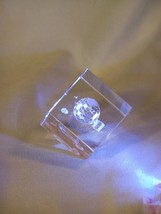 """Hot Air Baloon in clouds 3D etched glass paperweight, approx 1.5"""" x 1.5""""... - $8.10"""