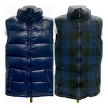 Nike Down Puffer Reversible Vest Buffalo Plaid Blue Zip Front Size Mediu... - $55.19