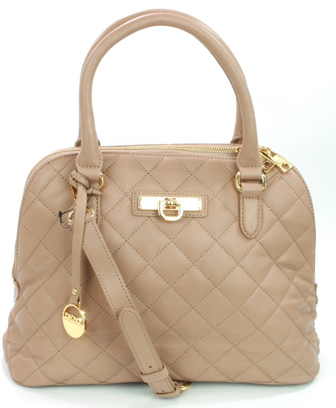 Primary image for DKNY Donna Karan Quilted Leather Handbag Taupe Beige RRP £300