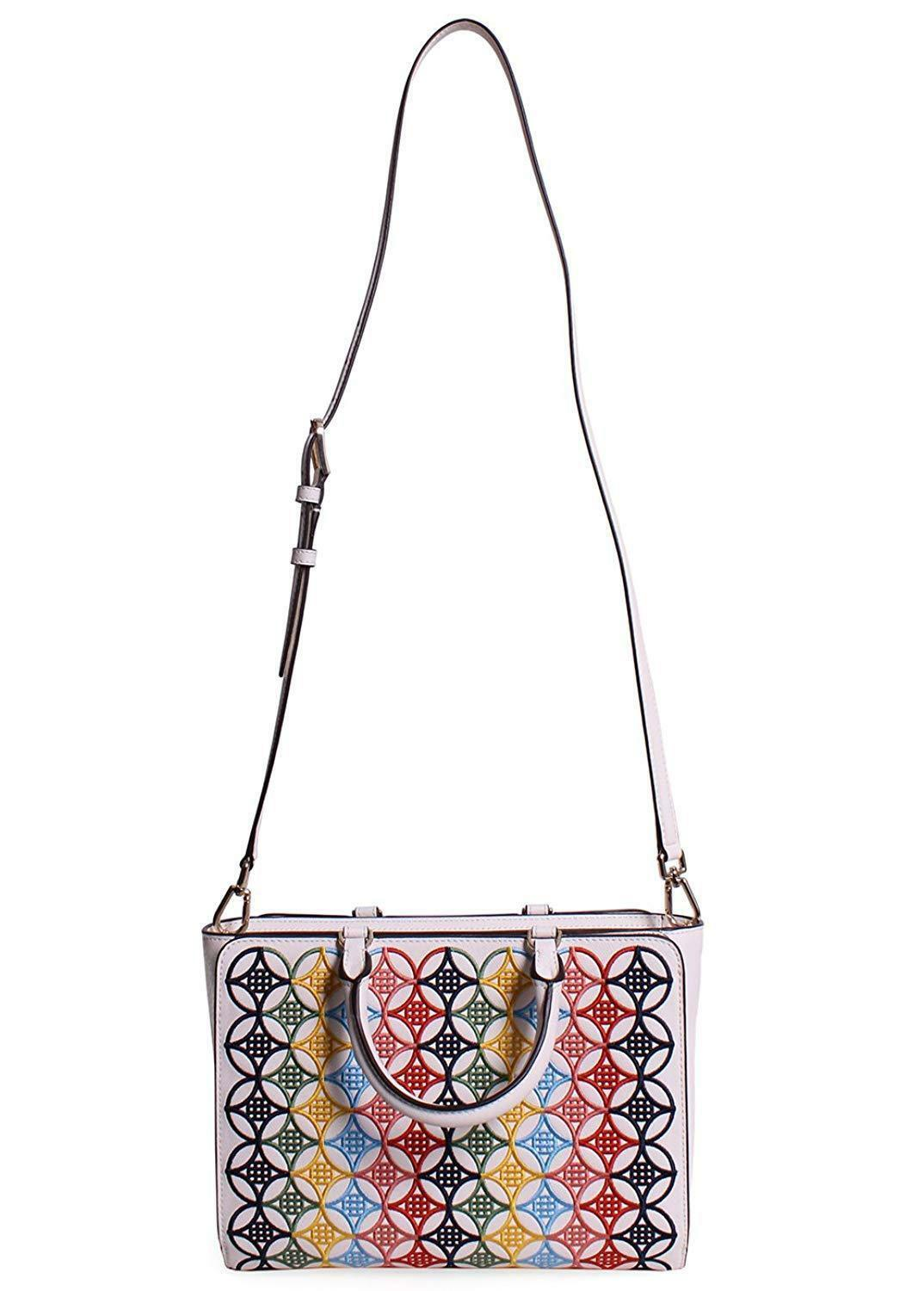 Tory Burch Robinson Embroidered Small Zip Tote in New Ivory Multi image 5