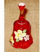 Collectible Glass Bell Tangerine Orange Pretty Bell Hand Painted Flowers... - $29.99
