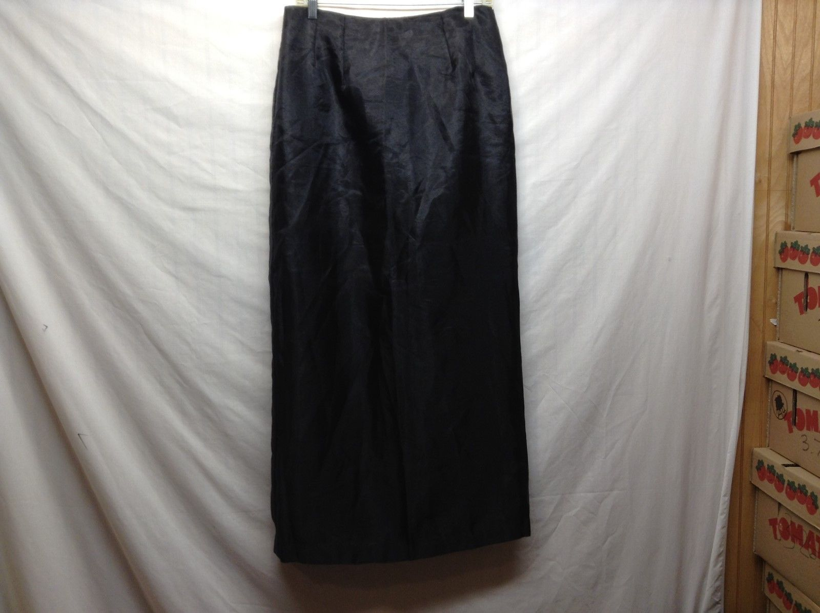 Ladies Long Black Zipper Back Slited Skirt