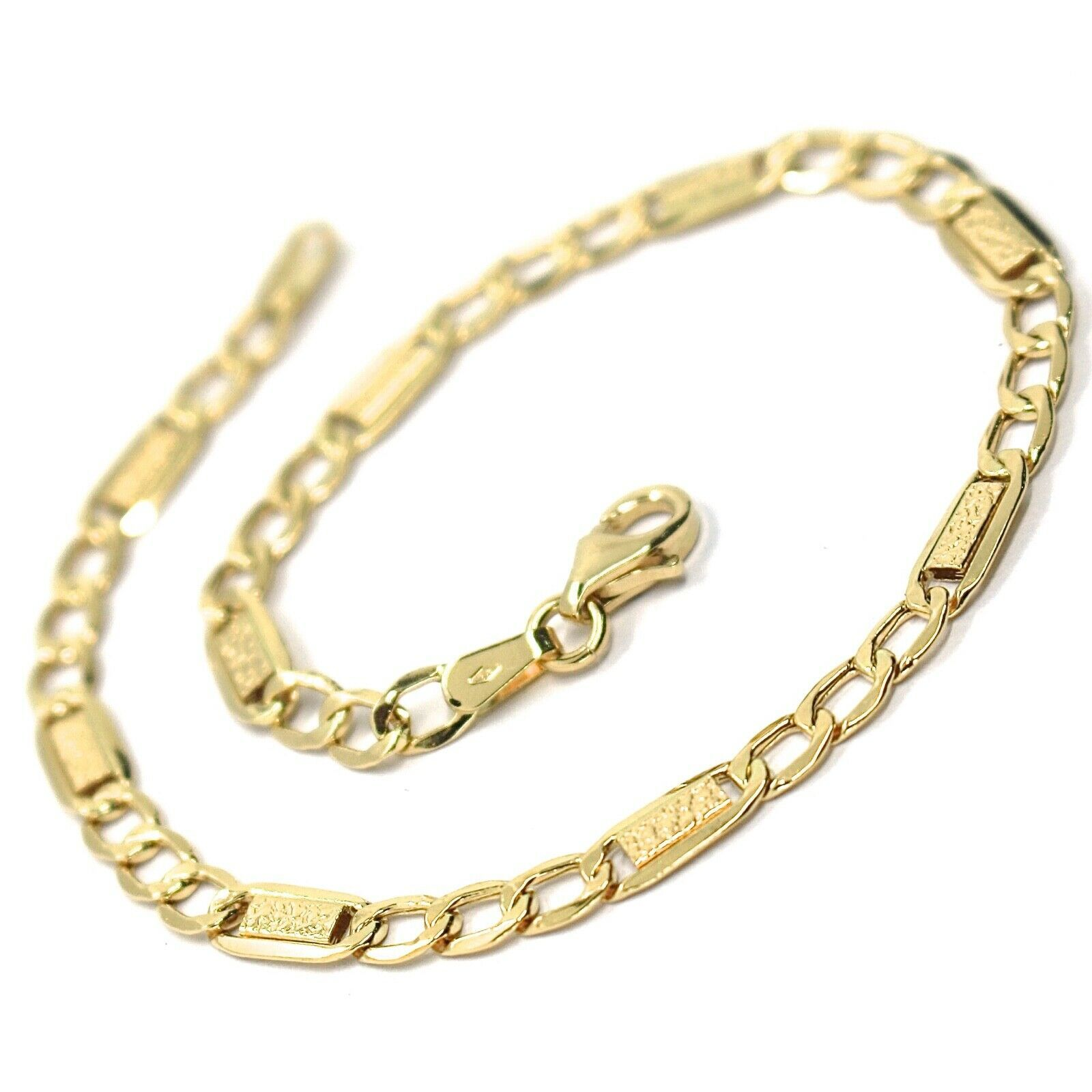 18K YELLOW GOLD BRACELET 4 MM, 7.9 INCHES, ALTERNATE GOURMETTE AND BUBBLES PLATE image 2