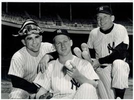 Yogi Berra Whitey Ford Mickey Mantle Yankees Vintage 8X10 Matted BW Photo - $7.95